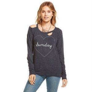 Chaser Deconstructed Heart Sunday Sweater